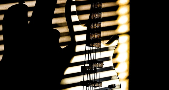 bass guitar behind window with blinds.